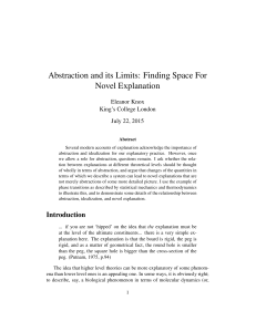 Abstraction and its Limits: Finding Space For Novel Explanation