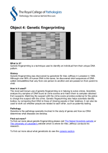 Object 4: Genetic fingerprinting