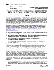 Transport of Japan tsunami marine debris to the coast of British