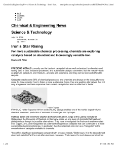 Iron`s Star Rising - School of Chemical Sciences