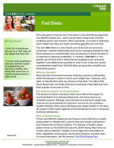Fad Diets - Live Eat Play - Colorado State University