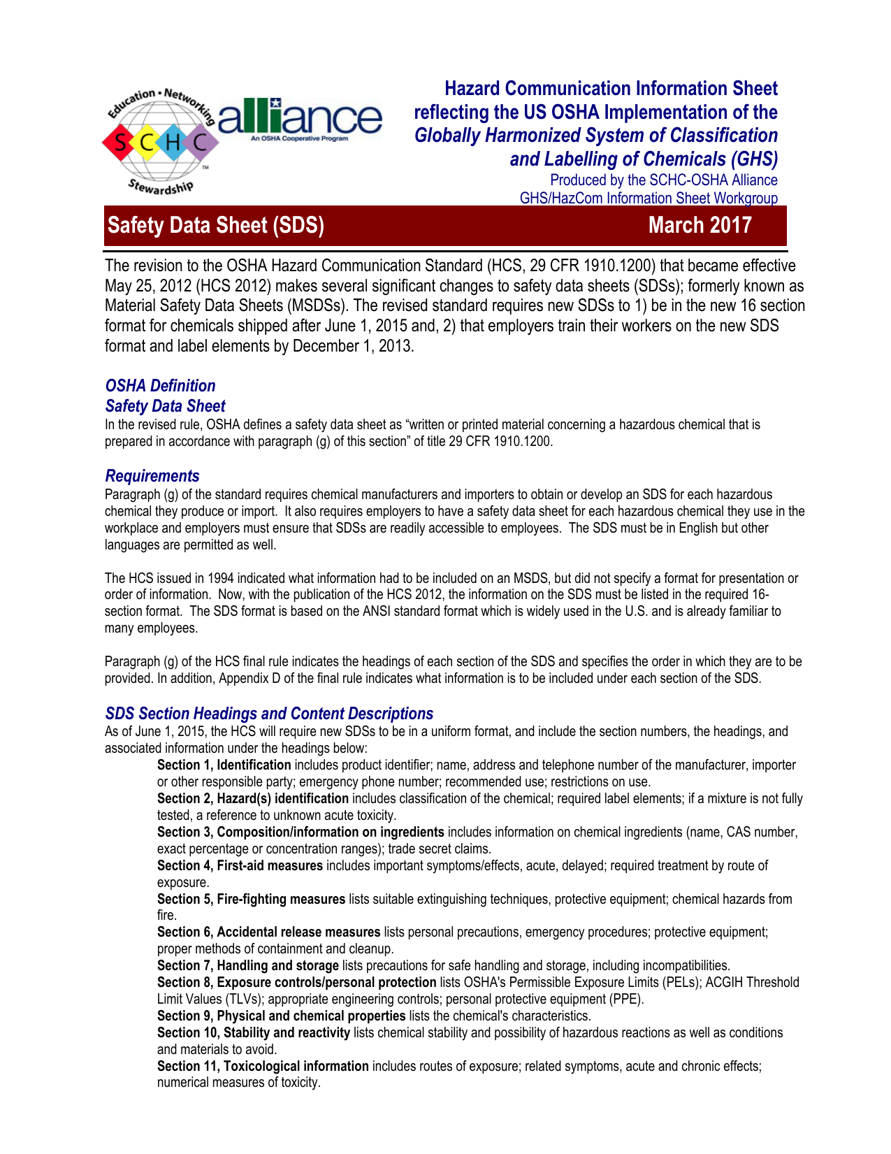 Safety Data Sheet - Society for Chemical Hazard Communication