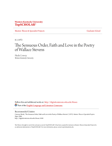 The Sensuous Order, Faith and Love in the Poetry