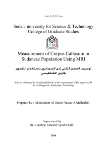 Measurement of Corpus Callosum in Sudanese Population Using MRI