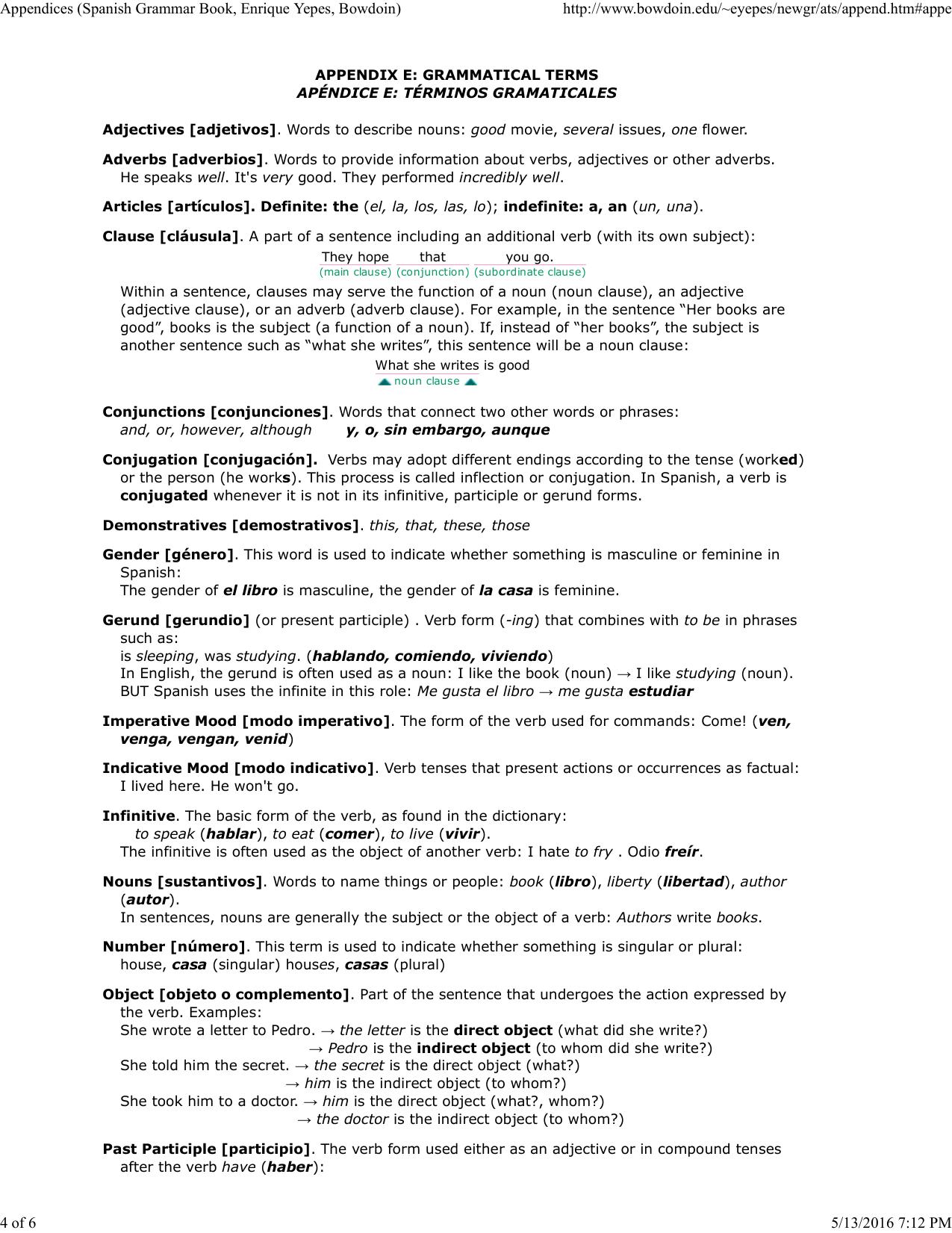 Appendices (Spanish Grammar Book, Enrique Yepes, Bowdoin) http