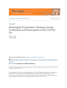 Restoring the Proclamation: Abraham Lincoln, Confiscation, and