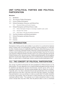Unit 13 Political Parties and Political Participation