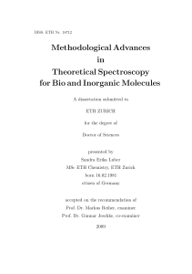 Methodological Advances in Theoretical - ETH E