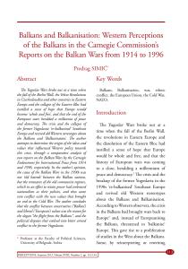 Balkans and Balkanisation: Western Perceptions of the Balkans in