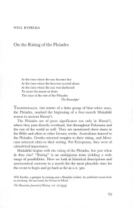 On the Rising of the Pleiades