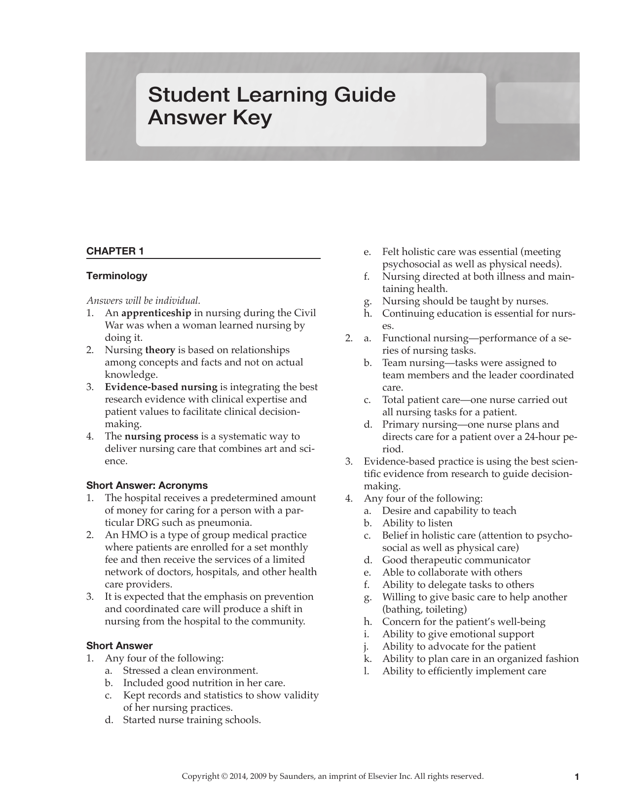 Student Learning Guide Answer Key