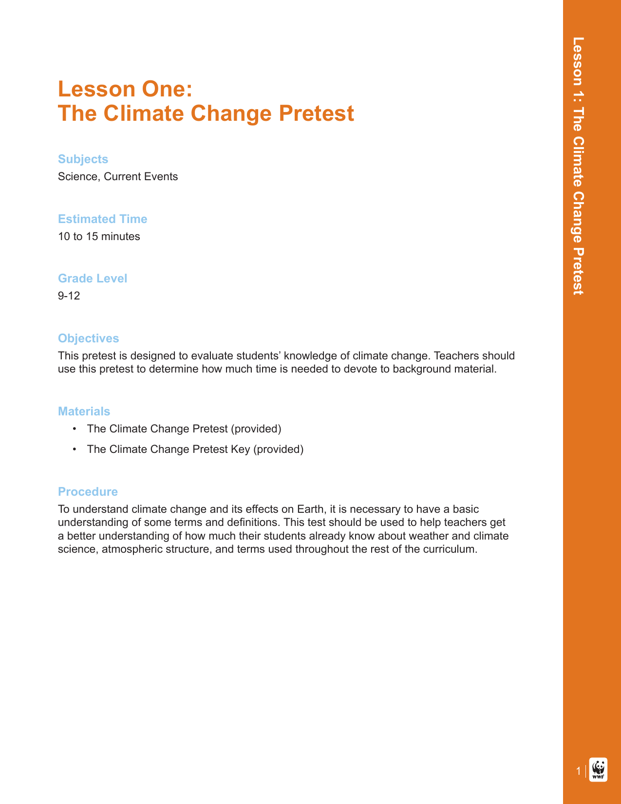 Lesson One: The Climate Change Pretest