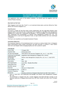 Fund Summary Sheet TMLS Singapore Cash Fund