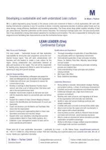 LEAN LEADER (f/m) Continental Europe