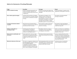 Rubrics for Statements of Teaching Philosophy