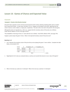 Lesson 13: Games of Chance and Expected Value