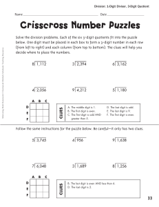 Crisscross Number Puzzles