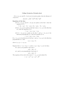 College Geometry, Formula sheet If A = (a 1,a2) and B = (b 1,b2) are