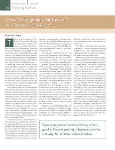 Stress Management for Lawyers: An Ounce of Prevention