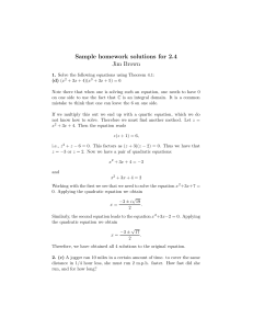 Sample homework solutions for 2.4 Jim Brown