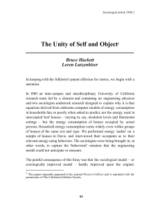 The Unity of Self and Object1