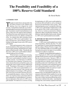 The Possibility and Feasibility of a 100% Reserve Gold Standard