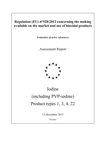 (including PVP-iodine) Product types 1, 3, 4, 22