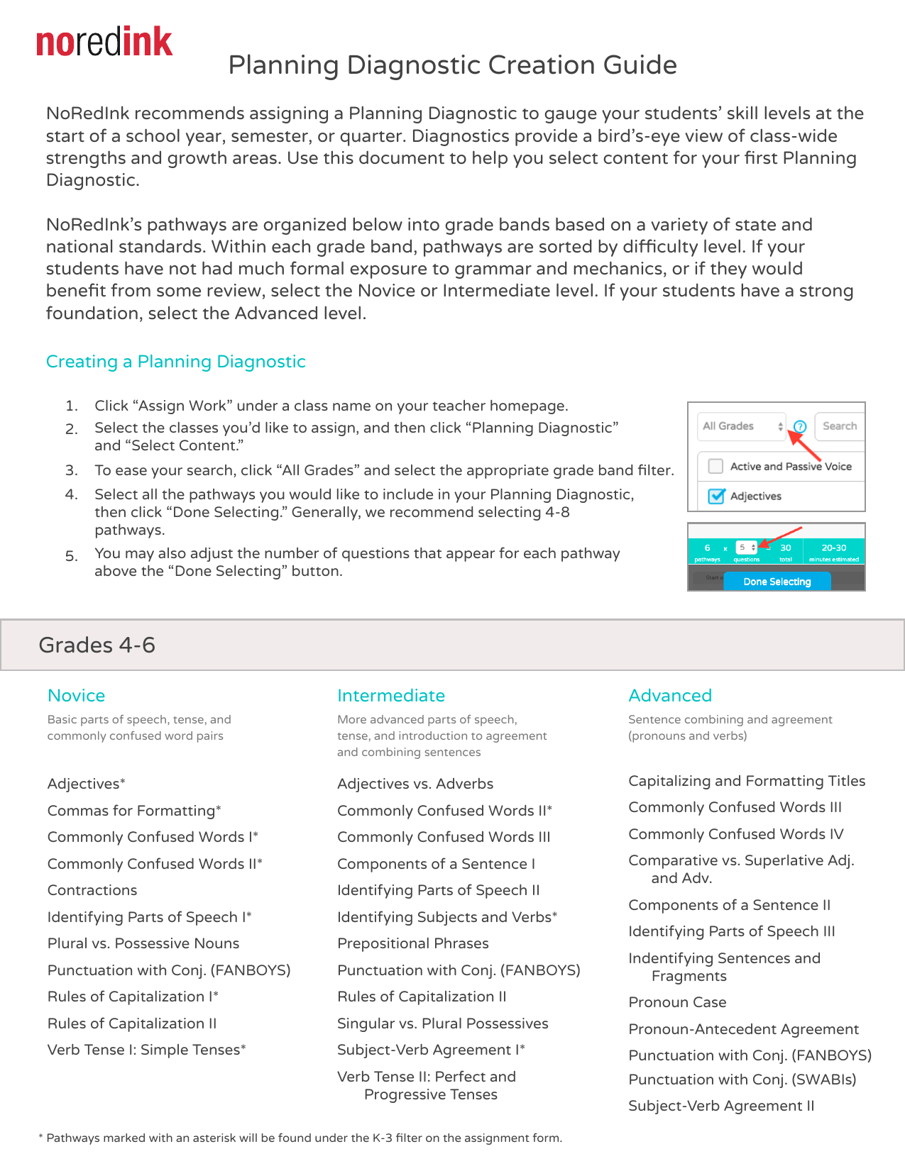 Noredink Planning Diagnostic Creation Guide
