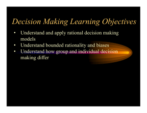 Decision Making Learning Objectives