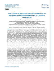 Investigations of the auroral luminosity distribution and the dynamics