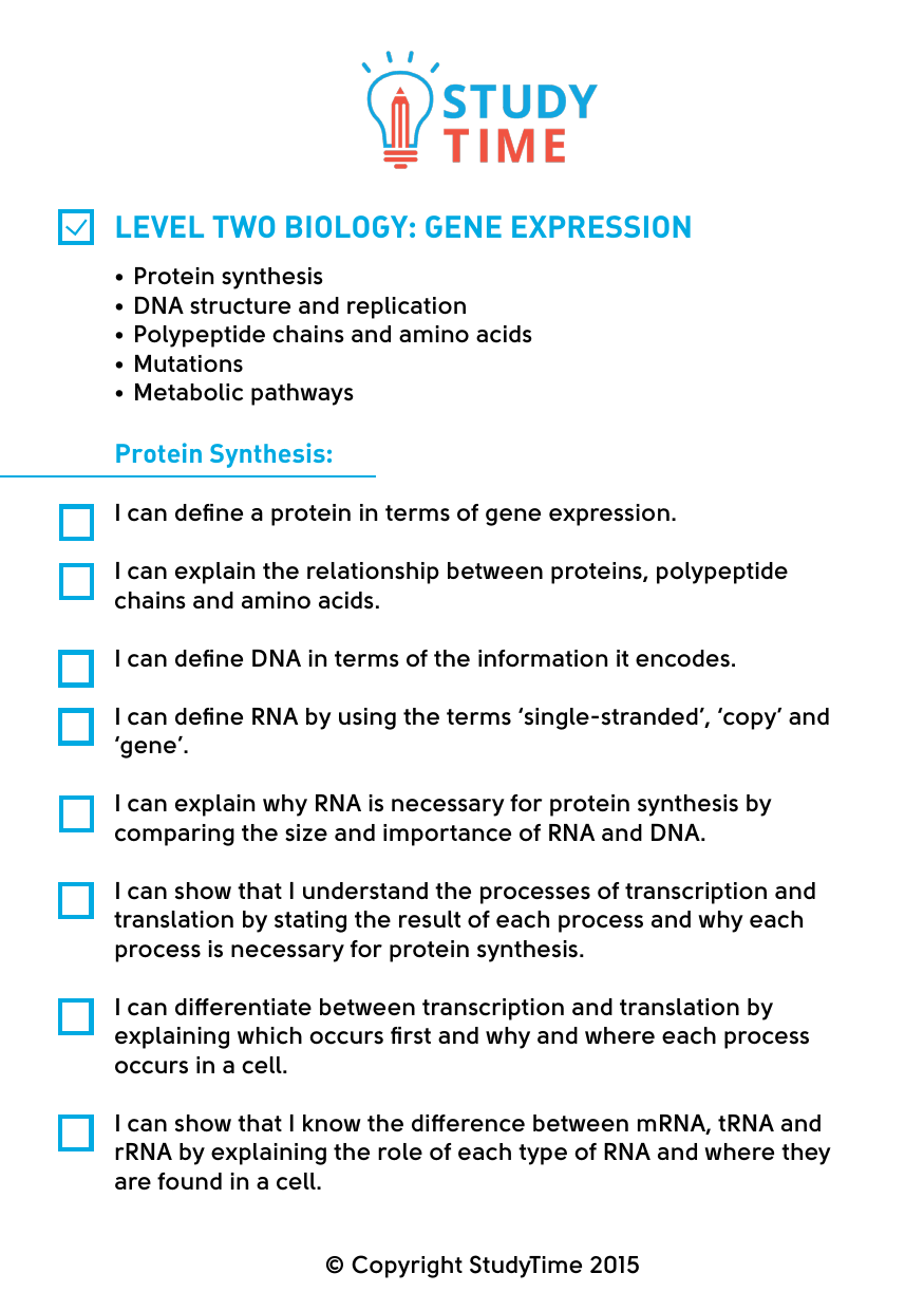 level two biology: gene expression