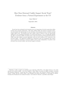 How Does External Conflict Impact Social Trust? Evidence from a