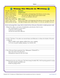 Using the Slash in Writing | Punctuation Worksheets