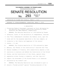 SENATE RESOLUTION - PA General Assembly