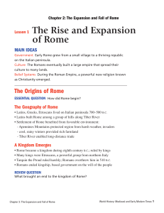 Lesson 1 The Rise and Expansion of Rome The Rise and Expans