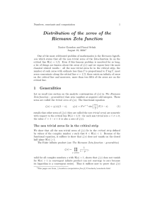 Distribution of the zeros of the Riemann Zeta function