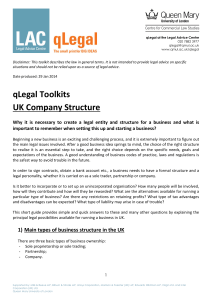 UK Company Structure - qLegal - Queen Mary University of London
