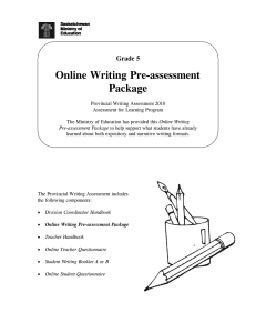 Online Writing Pre-assessment Package