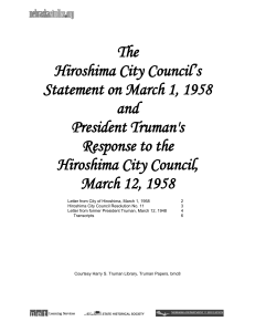 Hiroshima City Council`s Statement and President Truman`s Response