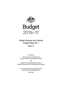 Budget Paper No.1: Budget Strategy and Outlook