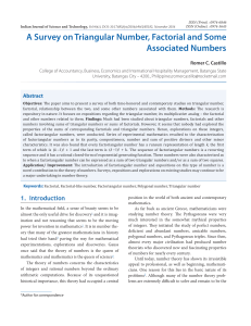 A Survey on Triangular Number, Factorial and Some Associated