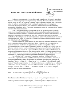 Euler and the Exponential Base e