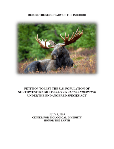 Moose Listing Petition - Center for Biological Diversity