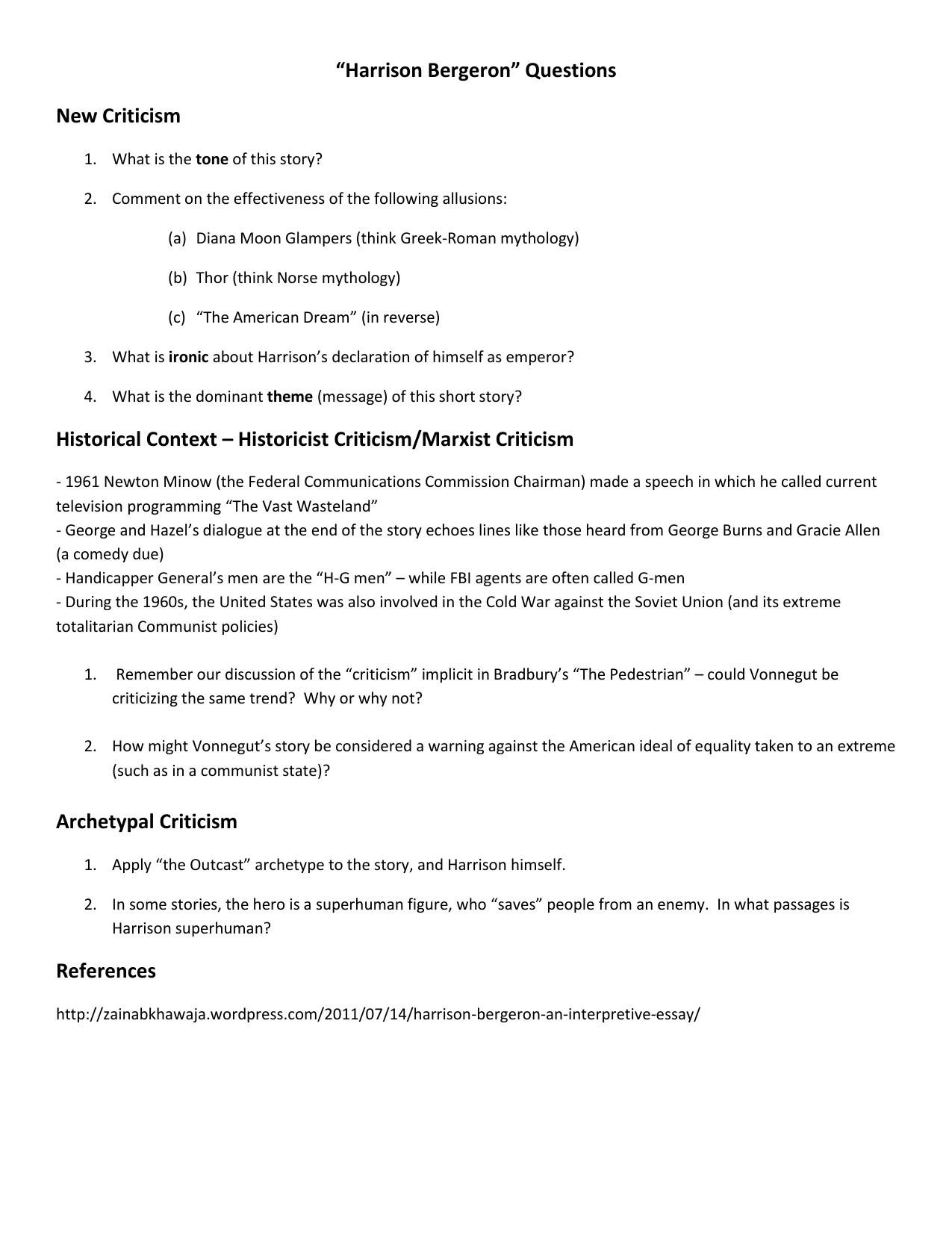 harrison bergeron 7 essay Check out our top free essays on compare contrast harrison bergeron 2081 to help you write your own essay.