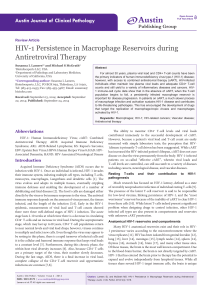 HIV-1 Persistence in Macrophage Reservoirs during Antiretroviral