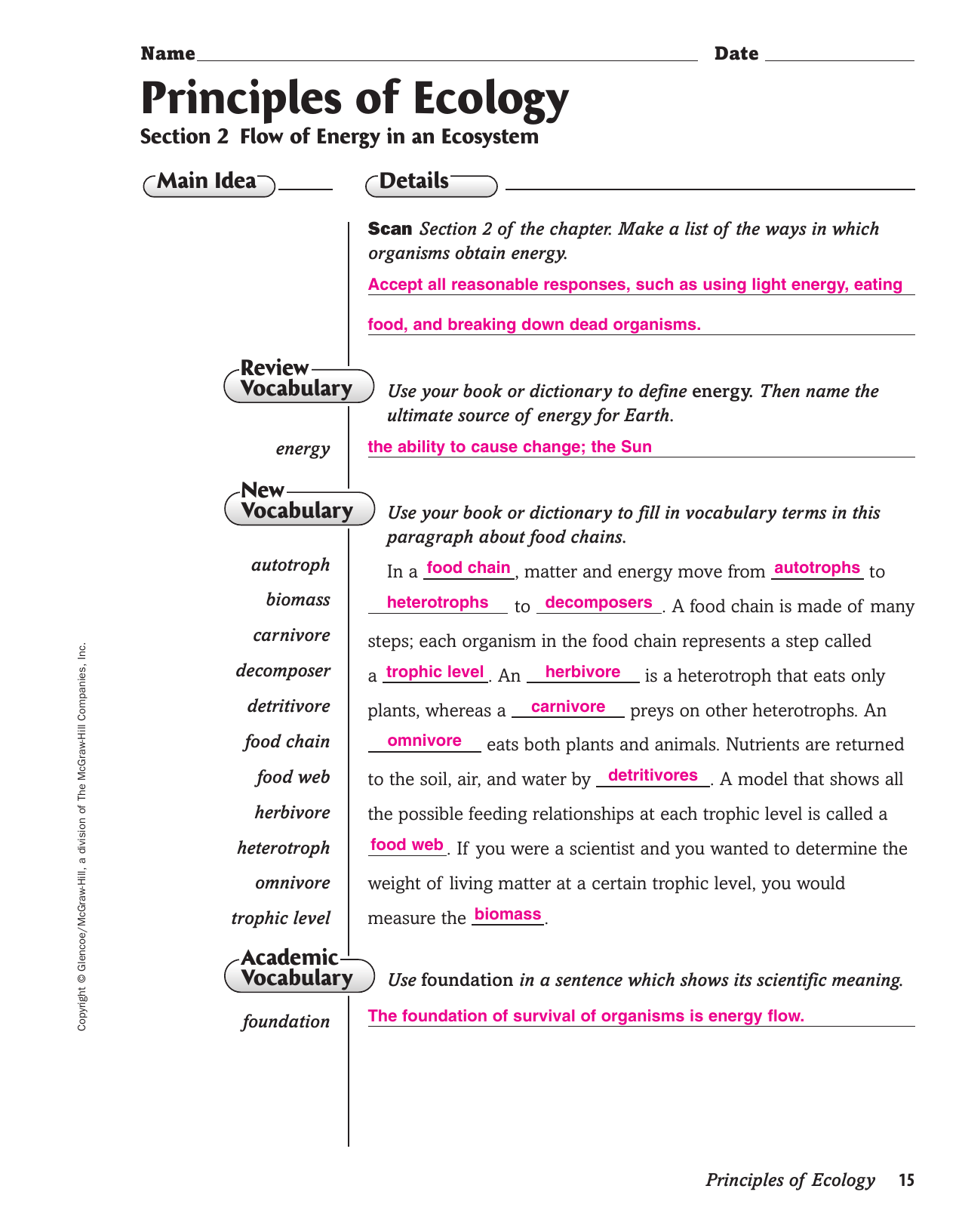 Principles Of Ecology Section 22 Worksheet Answers ...