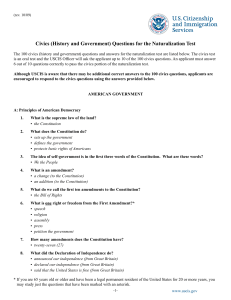 Civics (History and Government) Questions for the Naturalization Test