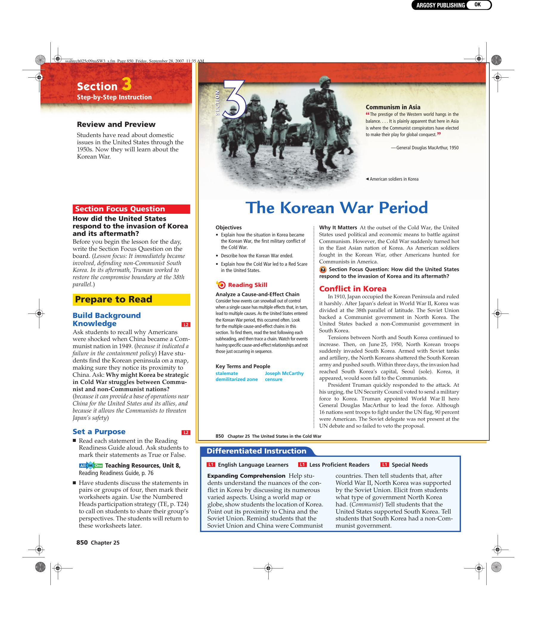 Ch  25 Sec  3 The Korean War Period Textbook