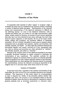 Chemistry of Sea water