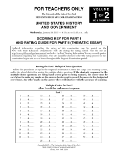 Scoring Key, Part I and Rating Guide Part II - Thematic